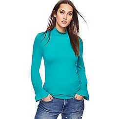 Red Herring - Turquoise shirred turtle neck top