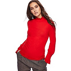 Red Herring - Red shirred turtle neck top