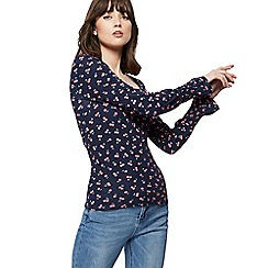 Red Herring - Navy cherry print ruched sleeve top