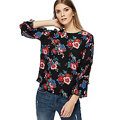 Red Herring - Black pop art floral print shell top