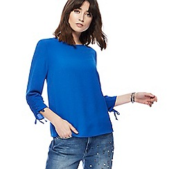 Red Herring - Royal blue ruched sleeve shell top