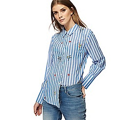 Red Herring - Blue striped floral embroidered shirt