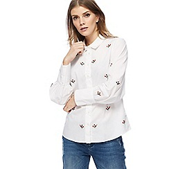 Red Herring - White floral embroidered shirt