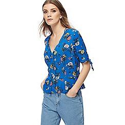 Red Herring - Blue floral print frilled hem top