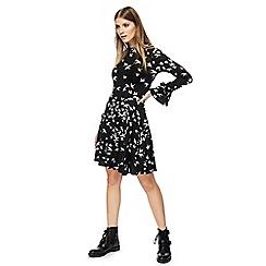 Red Herring - Black swallow print high neck long sleeves knee length skater dress