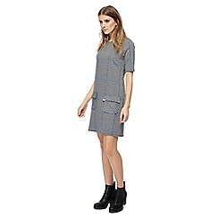 Red Herring - Black and white houndstooth checked mini tunic dress