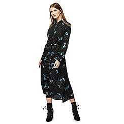 Red Herring - Black floral print long sleeves maxi shirt dress