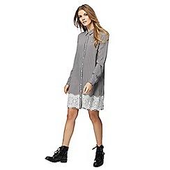 Red Herring - Black gingham check long sleeve knee length shirt dress