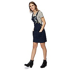 Red Herring - Blue floral embroidered denim pinafore dress