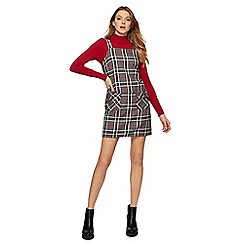 Red Herring - Red and grey checked mini pinafore dress