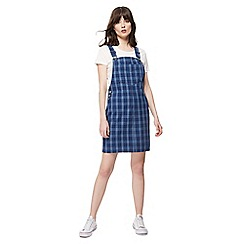 Red Herring - Blue checked sleeveless mini pinafore dress