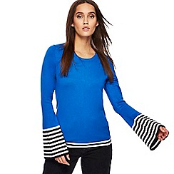 Red Herring - Blue flared sleeves stripe jumper