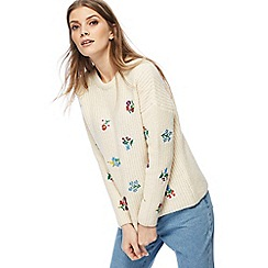 Red Herring - Cream floral embroidered knitted jumper