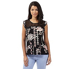 Red Herring - Black floral lace frill top