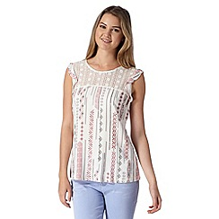 Red Herring - Ivory aztec print frill sleeve top