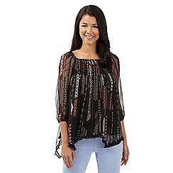 Red Herring - Black aztec gypsy top