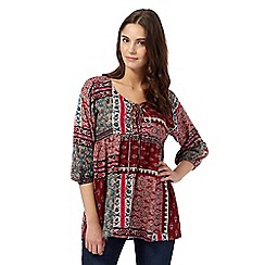 Red Herring - Dark red floral gypsy top