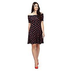 Red Herring - Navy aztec heart bardot dress