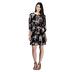 Red Herring - Black floral self tie dress