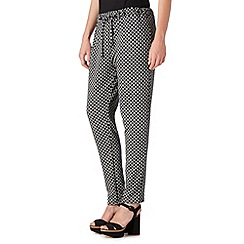 Red Herring - Black jacquard tile print jersey trousers