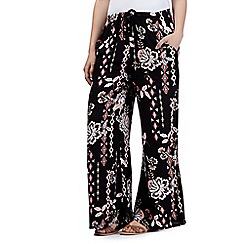 Red Herring - Black aztec floral printed palazzo trousers