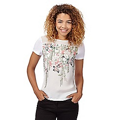 Red Herring - Ivory floral aztec t-shirt