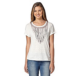 Red Herring - Ivory aztec embellished neckline t-shirt