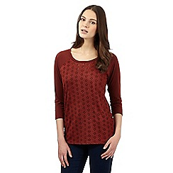 Red Herring - Dark red embroidered top