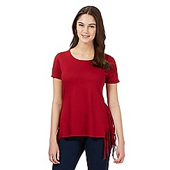 Red Herring - Dark red fringed t-shirt