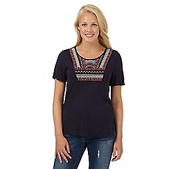 Red Herring - Navy aztec embroidered t-shirt