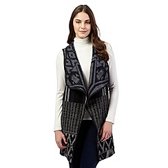 Red Herring - Black Aztec print waterfall waistcoat