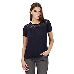 Red Herring - Navy lace yoke bubble top