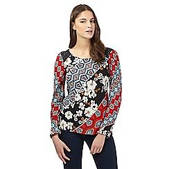 Red Herring - Navy floral patchwork top