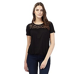 Red Herring - Black lace trim bubble hem top