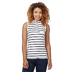 Red Herring - Ivory sleeveless striped polo top