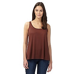 Red Herring - Brown sleeveless zip vest top