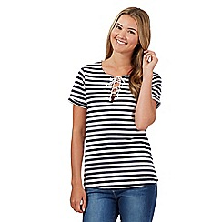 Red Herring - Navy lace front striped t-shirt