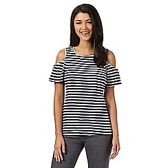 Red Herring - Navy striped open shoulder top