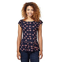 Red Herring - Navy butterfly peplum top