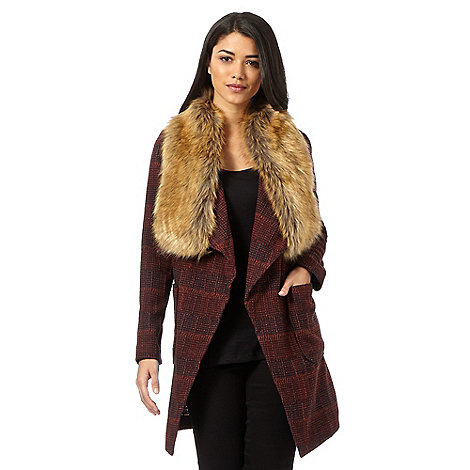 Red Herring - Brown faux fur checked coat