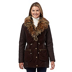 Red Herring - Brown quilted faux fur parka jacket