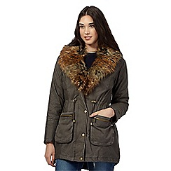 Red Herring - Khaki quilted faux fur parka jacket