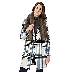 Red Herring - Cream checked faux fur collar coat