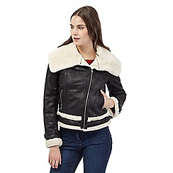 Red Herring - Black faux sheepskin aviator jacket