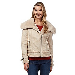 Red Herring - Beige faux sheepskin aviator jacket