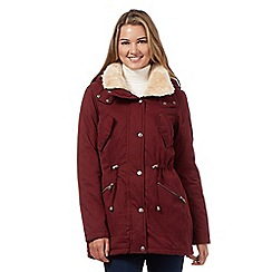 Red Herring - Dark red faux fur collar padded jacket