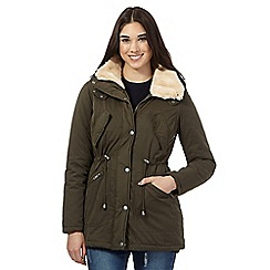 Red Herring - Khaki faux fur lined jacket