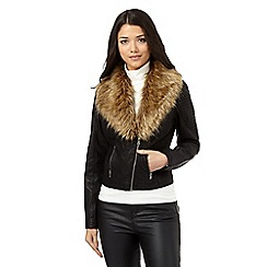 Red Herring - Black fur trim asymmetric zip jacket