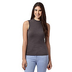 Red Herring - Dark grey ribbed roll neck sleeveless top