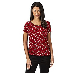 Red Herring - Red floral owl bubble top